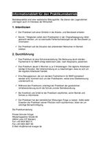 Informationsblatt für den Praktikumsbetrieb